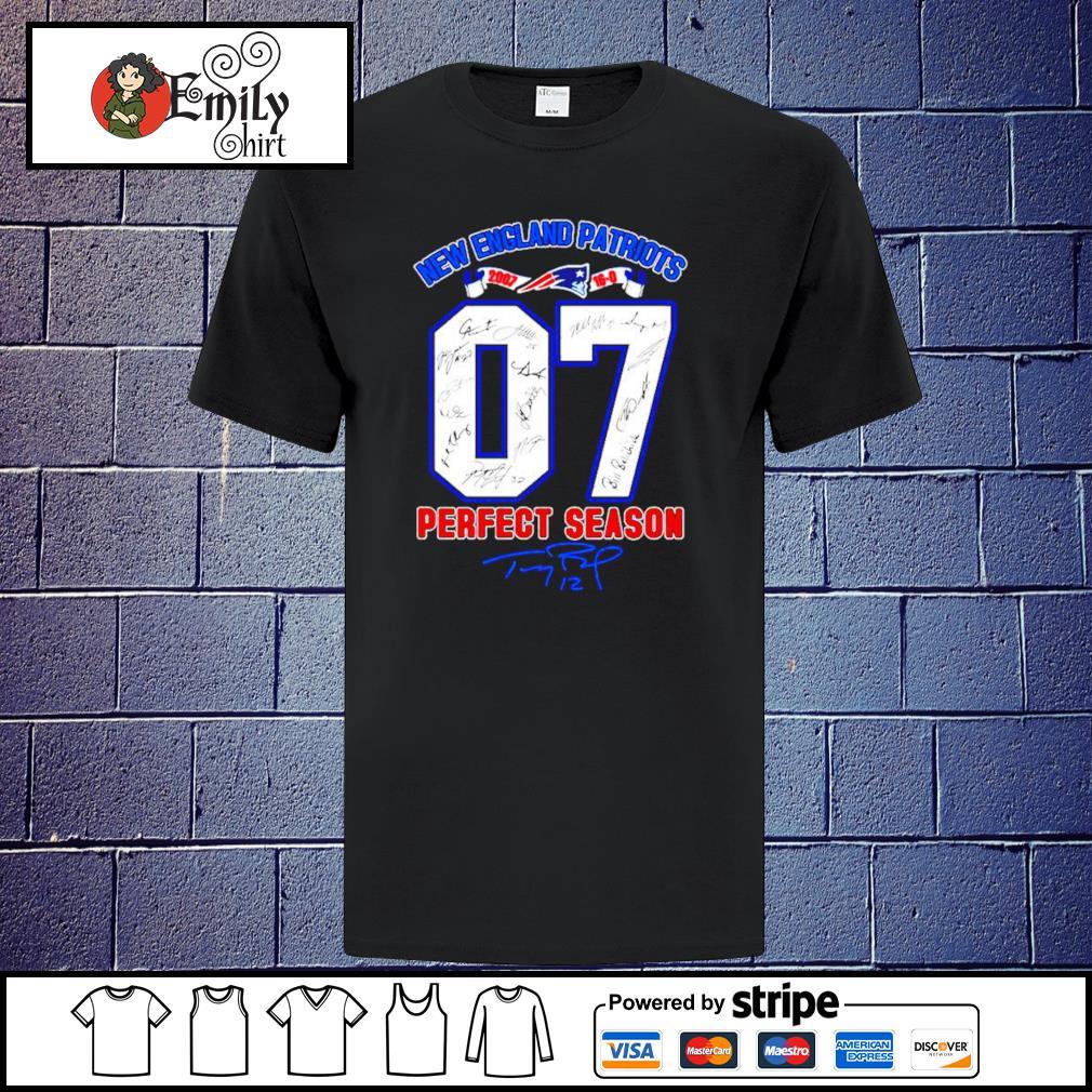 07 Tom Brady New England Patriots perfect season signature shirt