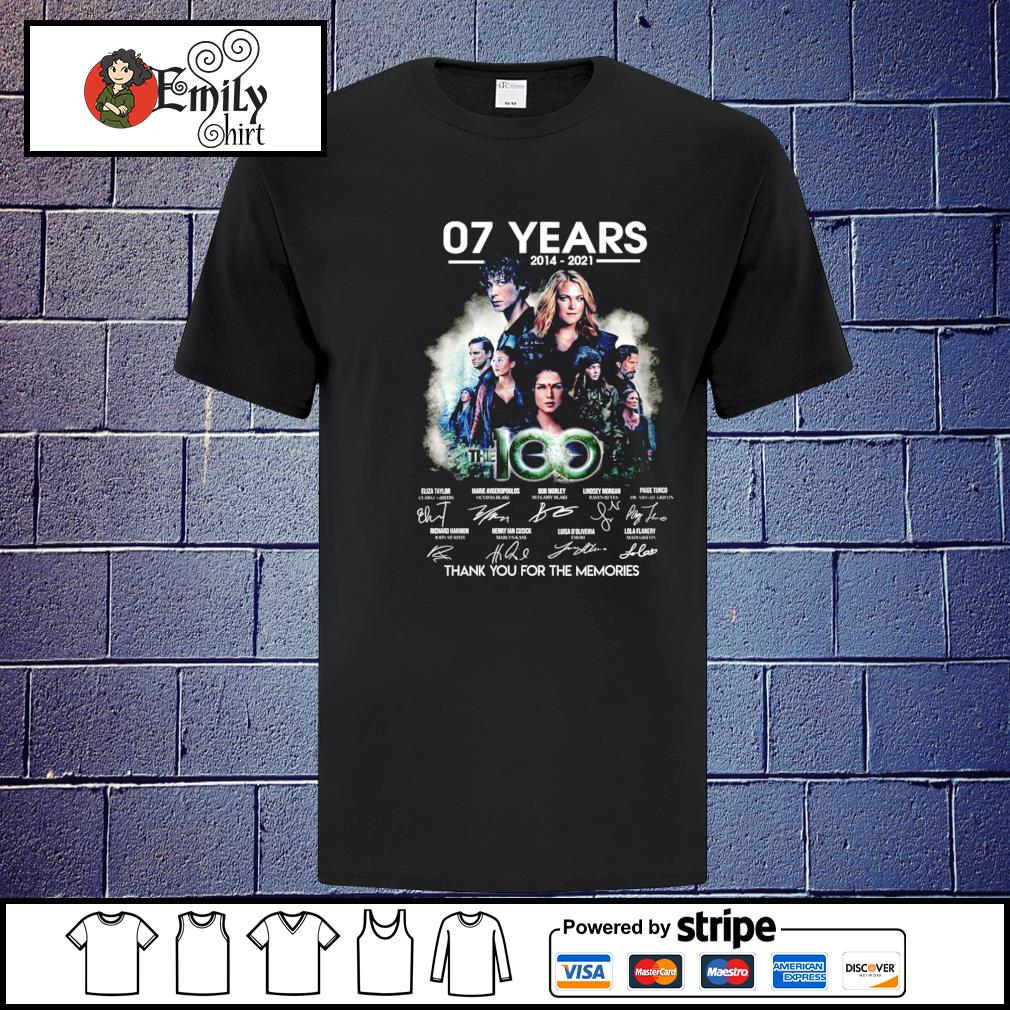 07 Years The 100 2014-2021 signatures thank you for the memories shirt