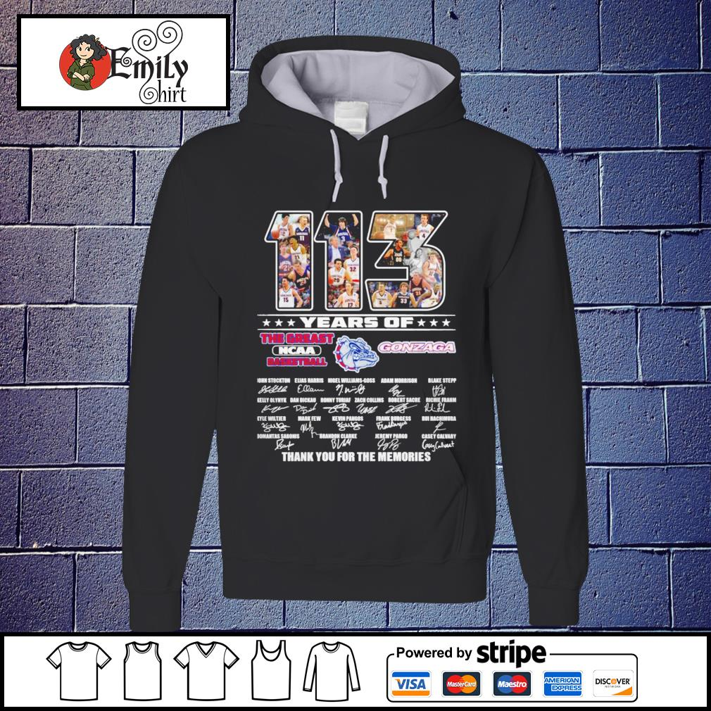 113 Years of the greatest NCAA basketball Gonzaga Bulldogs signatures Hoodie