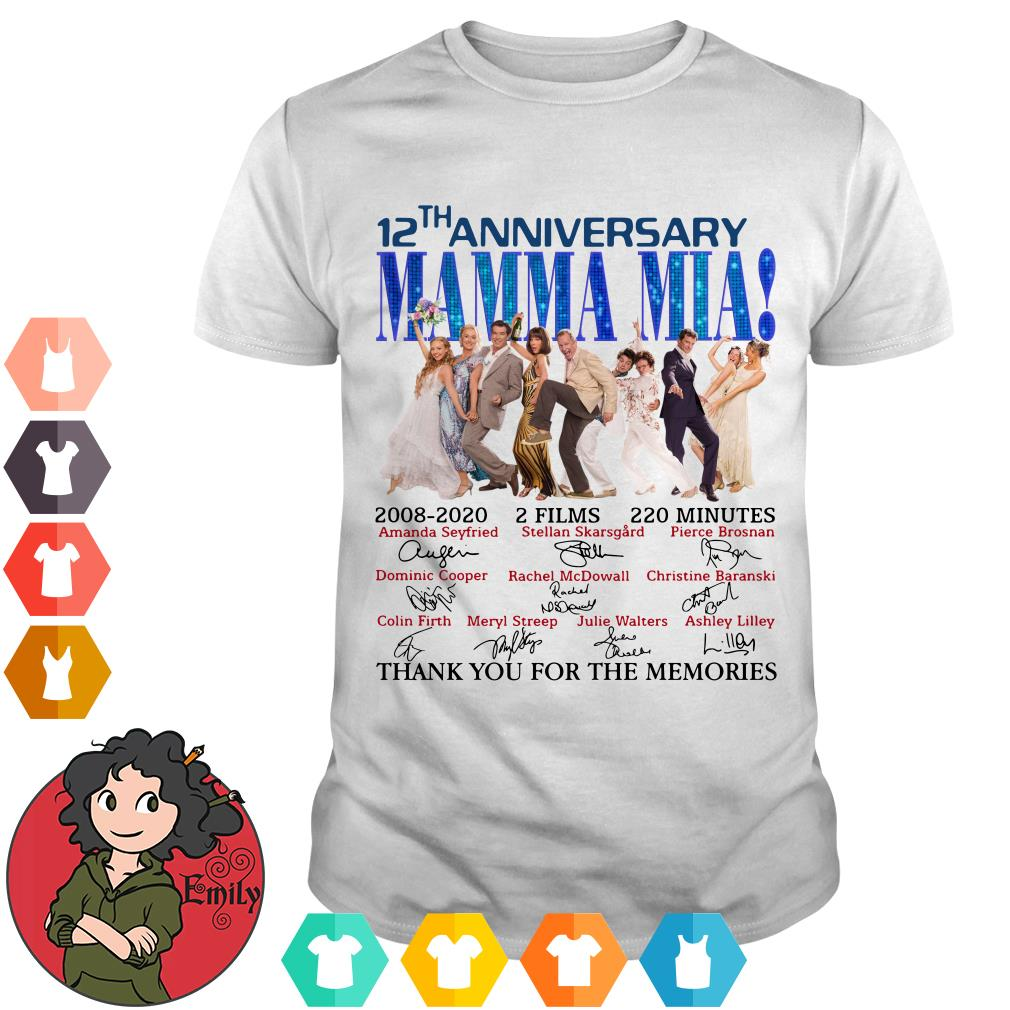 12th anniversary Mamma Mia thank you for the memories shirt