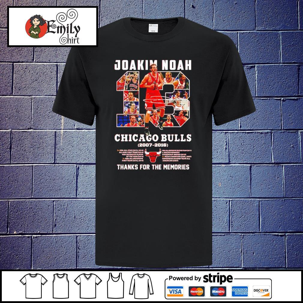 13 Joakim Noah Chicago Bulls 2007-2016 thank you for the memories signature shirt