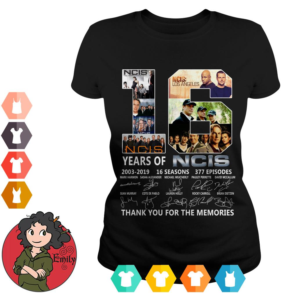 16 years of NCIS 2003-2019 16 seasons 377 episodes thank you for the memories Ladies tee