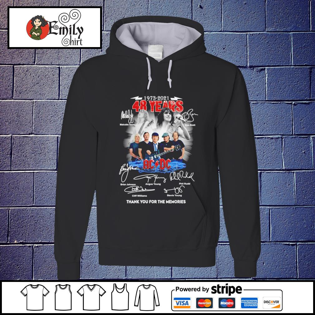 1973 2021 48 Years ACDC band thank you for the memories signatures Hoodie
