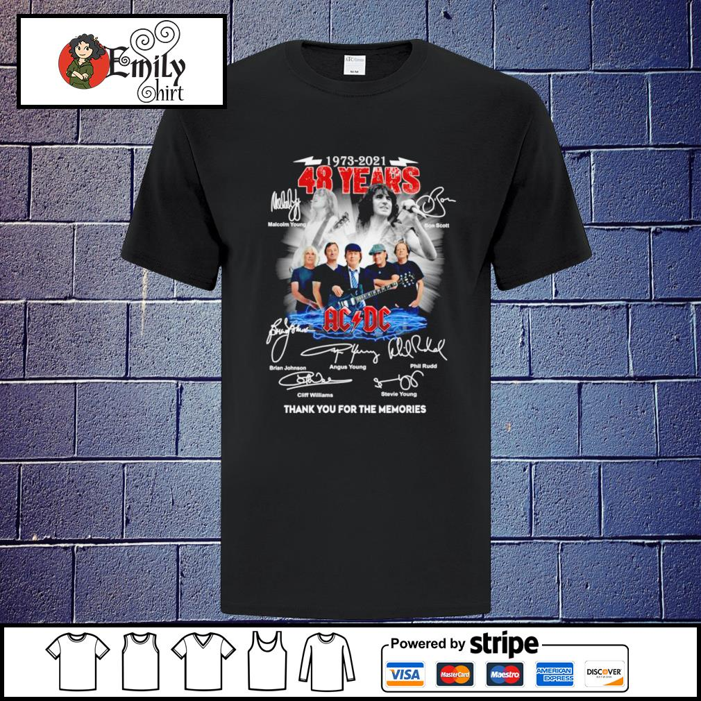 1973 2021 48 Years ACDC band thank you for the memories signatures shirt