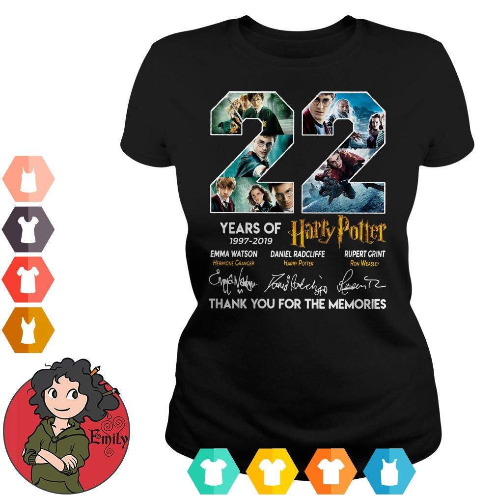 22 years of Harry Potter 1997-2019 thank you for the memories Ladies tee