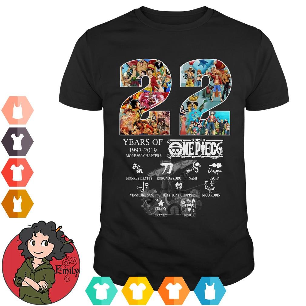22 Years of One Piece 1997-2019 more 950 chapters signature shirt