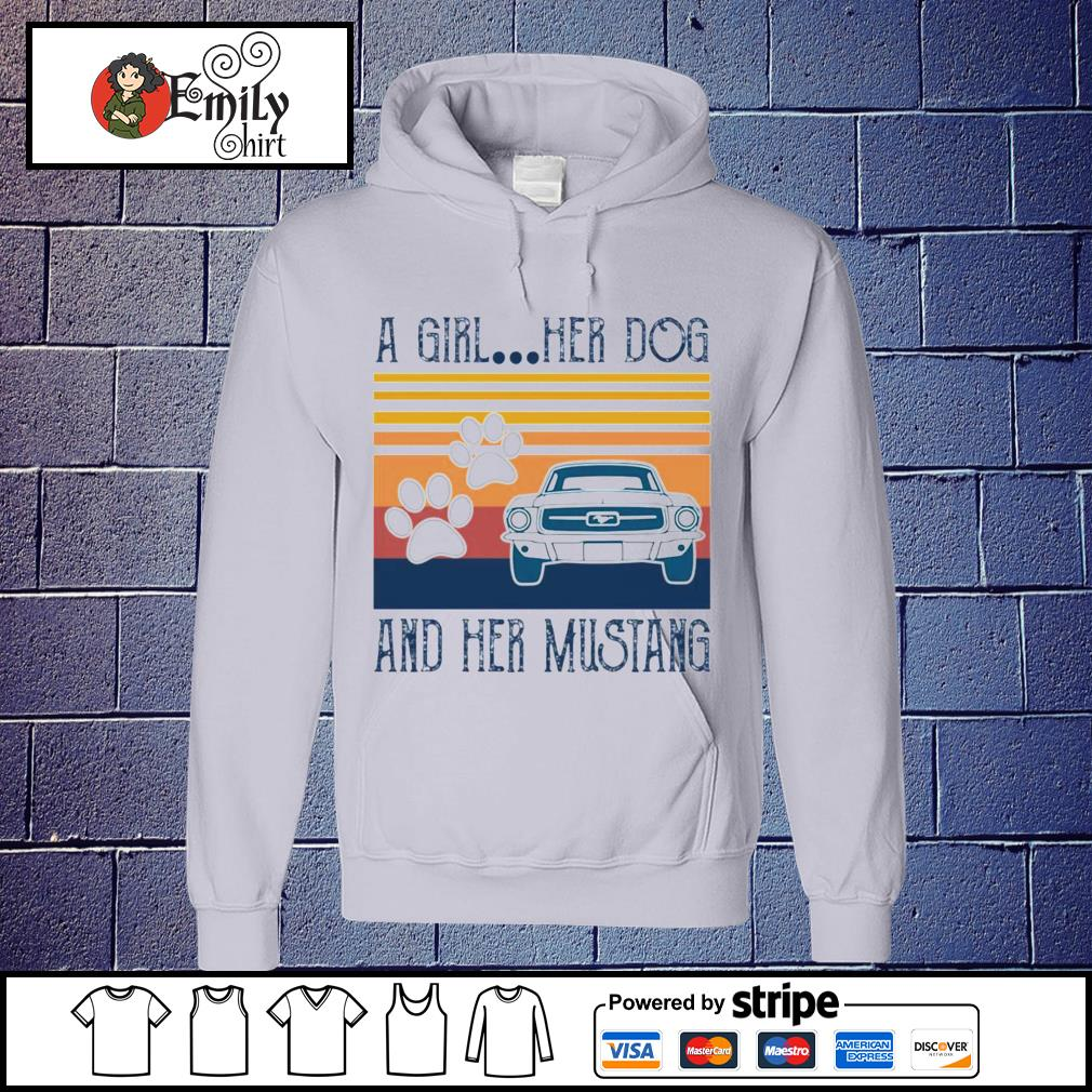 A girl her dog and her mustang vintage s Hoodie