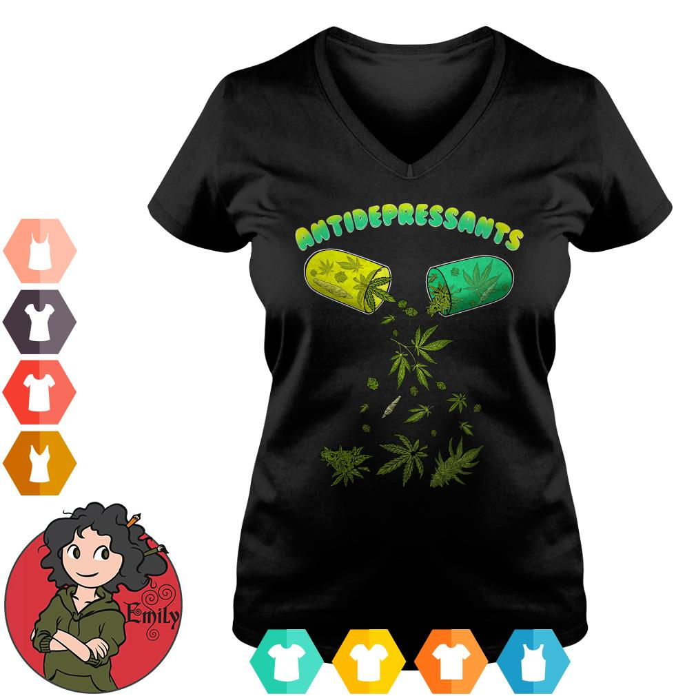 Cannabis weed antidepressants V-neck t-shirt