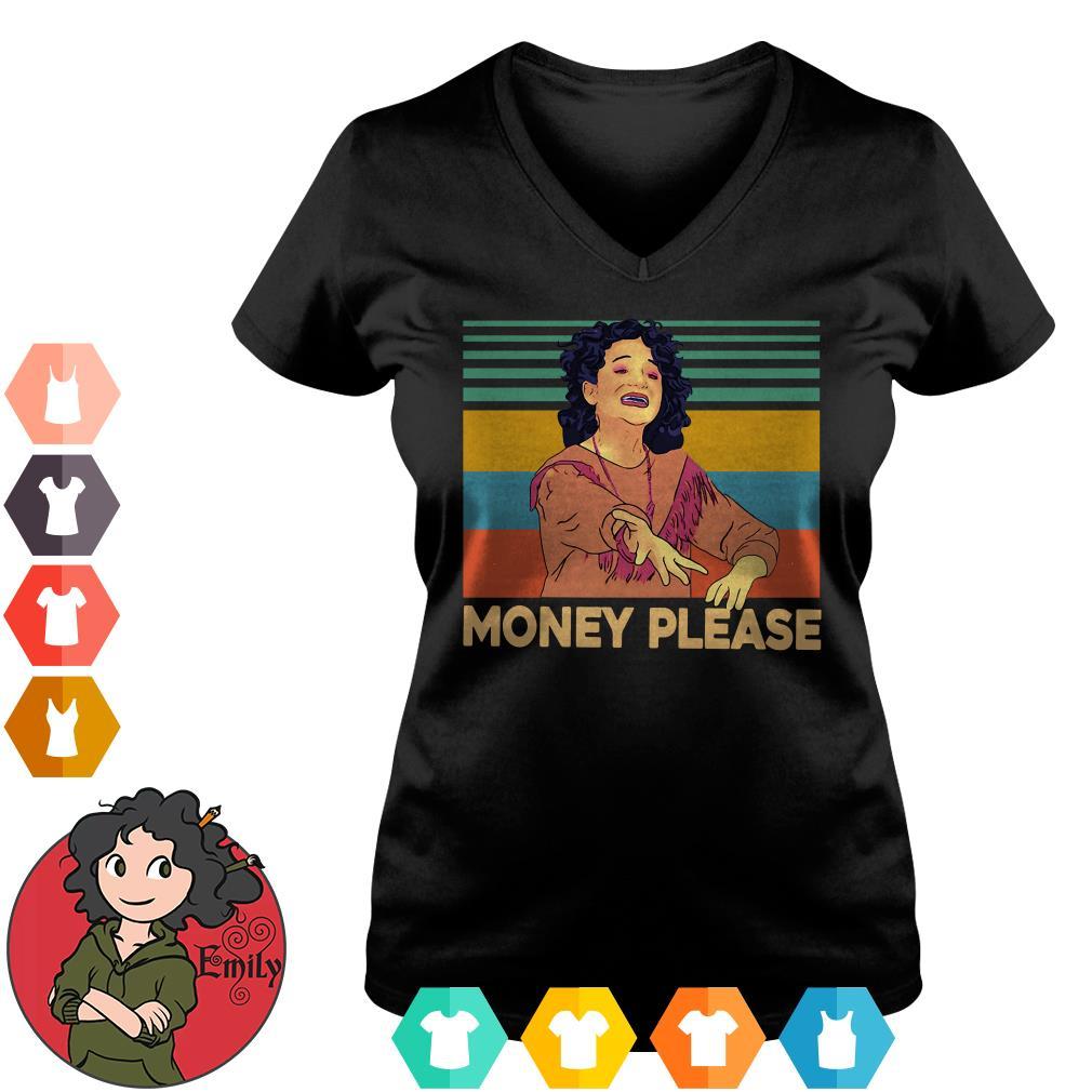 Mona Lisa Jenny Slate money please vintage V-neck t-shirt