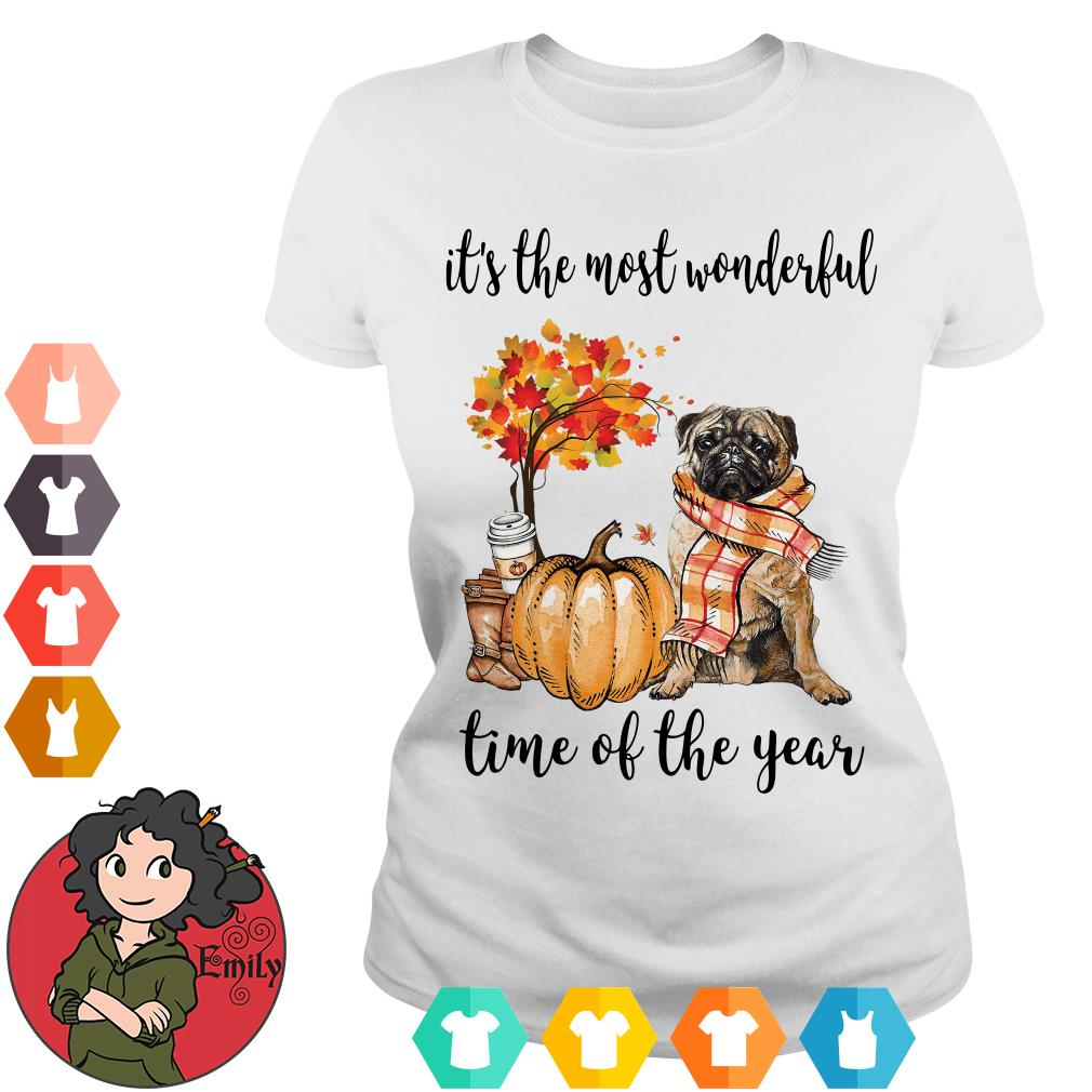 Pug it's the most wonderful time of the year ladies tee